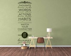 """Typography Wall Decals...    Price : 18.00 EURO ( S&H if applicable)  ... HashTags : #brutalvisual #brutalvisualstudio #handmade #custom #etsy #customdesigns #brutal #wallstickers #decal #walldecal #sticker #InspiringDecal #MotivationalDecal #VinylDecal #thoughts #words #actions #habits #character #destiny  """"Thoughts become words Words become actions Actions become habits Habits become your Character! Watch your Character it becomes your destiny!"""" This decal is a remind ... (click on the…"""