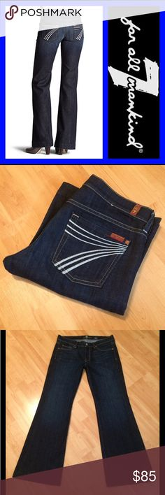 """7 FOR ALL MANKIND: Dojo wide leg flares- size 28 7 for all mankind Dojo wide leg flare jeans in New York Dark wash.. These have a 31"""" inseam, 8"""" rise and 22"""" leg opening.. They measure 16"""" across the top of the waist when laying flat.. 98% cotton and 2% spandex.. MINT condition!! 7 For All Mankind Jeans Flare & Wide Leg"""