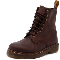 Dr. Martens Women's 1460 8 Up Boot Gaucho Crazy Horse ($160) ❤ liked on Polyvore featuring shoes, boots, ankle booties, leather lace up booties, short leather boots, lace up bootie, lace up boots and faux leather boots