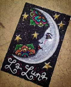 La Luna. The Moon. Loteria card glitter art. 4x6 by BeccaEirikson