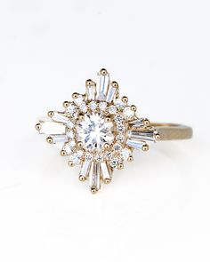 Wilson Diamonds Custom Ring. Starburst, vintage style. This would be perfect in a deep rose gold as well.