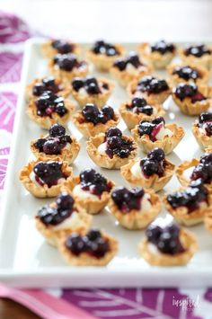 Mini Blueberry Cheesecakes made with Phyllo Cups #mini #blueberry #cheesecake #phyllo #dessert #bitesized #recipe Blueberry Sauce, Blueberry Cheesecake, Blueberry Tarts, Dessert Sauces, Dessert Recipes, Yummy Recipes, Phyllo Dough Recipes, Phyllo Cups, Mini Pumpkin Pies