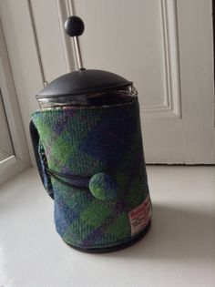 Navy and Green Check Harris Tweed thermal lined Large tea cozy