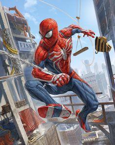 Spider-Man from Marvel Comics, perfect drawing by artist Harry Osborn Art Marvel Comic Universe, Marvel Dc Comics, Marvel Heroes, Marvel Avengers, Marvel Fanart, Spiderman Kunst, Comics Anime, Destiny Game, Univers Marvel