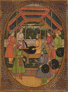 Mughal Emperor Shah Jahan Painting Handmade Antique Finish Watercolor Durbar Art