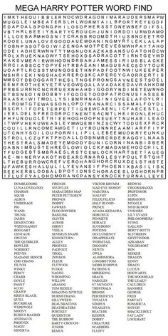 Hard Printable Word Searches for Adults   MEGA HARRY POTTER WORD FIND by Kinky-chichi: