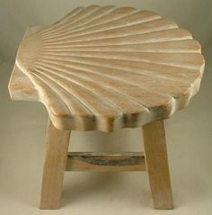 Tropical Scallop Seashell Child Carved Whitewashed Wooden Step Stool   eBay