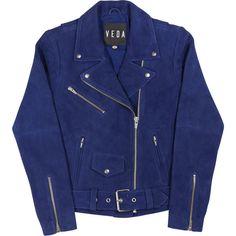 Jayne Suede Jacket ❤ liked on Polyvore featuring outerwear, jackets, blue jackets, dark blue jacket, suede biker jacket, oversized jacket and rider jacket