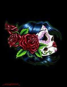 Female Sugar Skull Tattoo Design Drawing © Me, Jake S. Sugar Scull, Sugar Skull Girl, Tattoos For Women Small, Small Tattoos, Cool Tattoos, Tatoos, Awesome Tattoos, Leg Tattoos, Bow Tattoo Designs