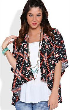 Deb Shops Short Sleeve Tribal Print Kimono $21.00