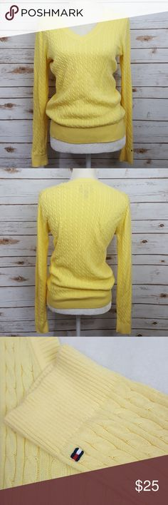 """Tommy Hilfiger yellow v-neck cable knit sweater Tommy Hilfiger yellow v-neck cable kint sweater Size medium Flat lay from arm pit to arm pit measures 18"""" Shoulder to hem measures 23"""" #352 Tommy Hilfiger Sweaters"""
