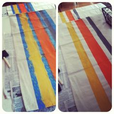 DIY curtains with drop cloths and acrylic paint