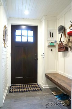 freckles chick: Mini mudroom: finally finished love the door and the simplicity of the mud room
