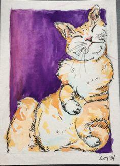 Original ACEO Orange Tabby Stripe Cat Kitten Watercolor Painting ATC Drawing | eBay