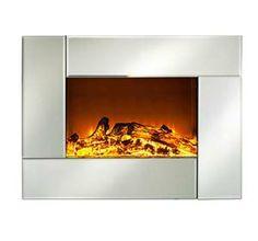 "[$159.99]HomCom 26"" Adjustable Indoor Electric Wall Mount Heater Fireplace - Silver"