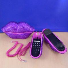ST32100PUR - LIPS PHONE SET / W PURPLE CRYSTAL