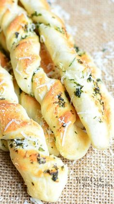 Homemade Parmesan Garlic & Herb Breadsticks ~ Scrumptious homemade breadsticks flavored with fresh herbs, fresh Parmesan cheese and garlic. Perfect side for any gathering!
