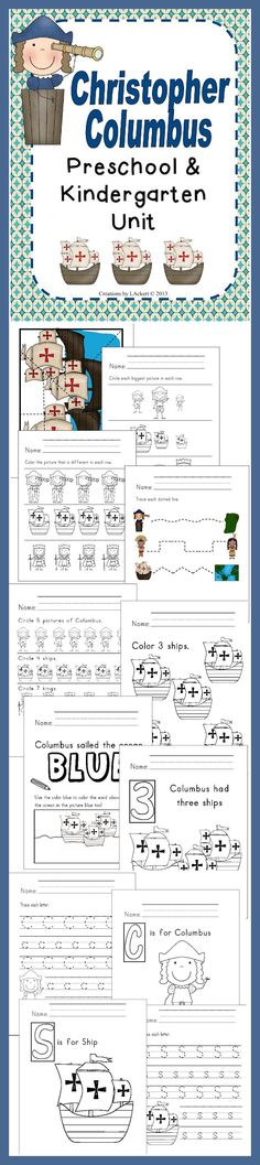 Christopher Columbus Kindergarten Unit  that includes different worksheets and activities. http://www.christianhomeschoolhub.spruz.com/holiday-and-seasonal-related.htm #christophercolumbus #kindergarten