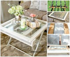 Rustic Vintage Window Coffee Table at One More Time Events.com