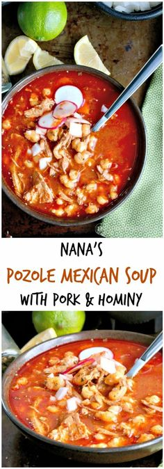 Nana's Pozole Mexican Soup Tried and true family recipe from Nana herself! This Pozole Mexican Soup with pork and hominy is a family favorite dish often served during… Mexican Cooking, Mexican Food Recipes, Soup Recipes, Cooking Recipes, Family Recipes, Easy Recipes, Recipies, Chili Recipes, Latin Food Recipes