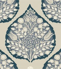 Galbraith & Paul Lotus Wallpaper - Shown in Indigo (Wallpaper Sold By The Yard - 5 Yard Minimum Order) Custom Drapes, Decor, Indigo Wallpaper, Wallpaper, Custom Roman Shades, Powder Room Wallpaper, Fabric Wallpaper, Things To Sell, Dining Room Wallpaper