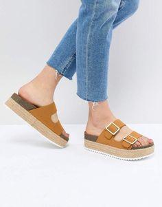 10a0aea6940 Shop Pull Bear flatform double buckle sandal in tan at ASOS.