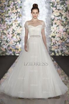 A-Line/Princess Sweetheart Strapless Court Train Tulle wedding dress - IZIDRESSES.com at IZIDRESSES.com