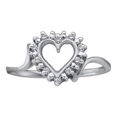 10k White Gold 0.05Ctw Diamond Ladies Heart Ring
