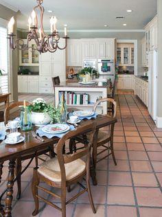 white kitchen Saltillo tiles with warm granite counters Kitchen Redo, Kitchen Remodel, Kitchen Design, Spanish Tile Kitchen, Kitchen Tiles, Style At Home, Floor Decor, House And Home Magazine, Kitchen Flooring