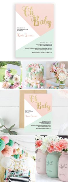 Pastel Baby Shower Invitation Printable by LittleSizzle. Pastel Party Invitations and ideas for girls. Make the perfect announcement of your baby shower with this sweet pastel baby shower invitation. Simply download, edit and print!