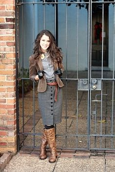 skirt, boots and jacket
