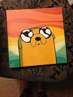 Adventure Time Painting Series: Jake the Dog - - Art Drawings Simple Canvas Paintings, Easy Canvas Art, Small Canvas Art, Mini Canvas Art, Cute Paintings, Acrylic Canvas, Drawing On Canvas, Disney Canvas Art, Acrylic Paintings