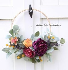 Excited to share this item from my shop: Fall Hoop Wreath, Hoop Wreath, Farmhouse Wreath, Farm Diy Fall Wreath, Fall Wreaths, Embroidery Hoop Crafts, Wedding Embroidery, Christmas Embroidery, Corona Floral, Floral Hoops, Crafty Craft, Diy Crafts To Sell