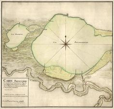 Antique map of New Orleans and Lake Pontchartrain from 1749