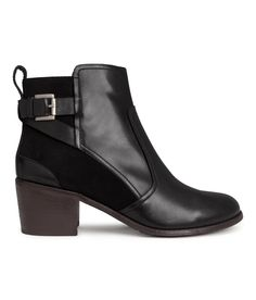 Premium-quality black leather ankle boots with contrasting suede panels, block heels, and decorative buckle straps. | H&M Shoes