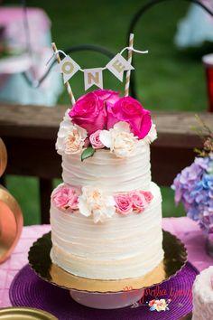 Garden party first birthday cake