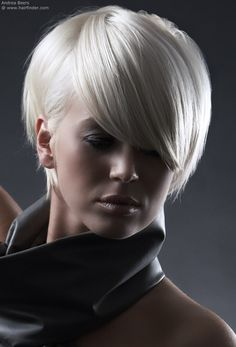 White Satin Hair - I love this cut. If I could do short hair I'd want this style