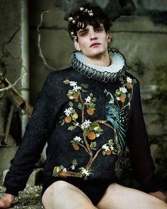 WHERE THE WILD ROSES GROW Gryphon O'Shea, Riccardo Piane, Abel van Oeveren and Ko Grimmer by Jeff Bark FLAIR ITALIA December 2015 (1) Moschino (2) Dolce&Gabbana, Angels Costume London gorgiera (3)...