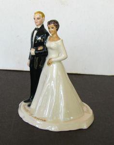 Mid Century Bride Groom Wedding Cake Topper dated 1968 Vintage