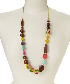 Another great find on #zulily! Yellow Wood Bead Necklace #zulilyfinds