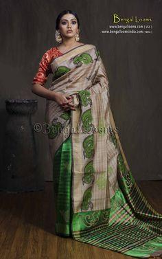 Pure Handloom Half and Half Tussar Silk Saree in Beige and Green. Tussar Silk Saree, Green Blouse, Mulberry Silk, Festival Wear, Saree Wedding, Bengal, Beautiful Hands, Sari, Indian