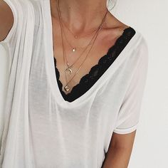 layered necklaces + white v-neck #splendid