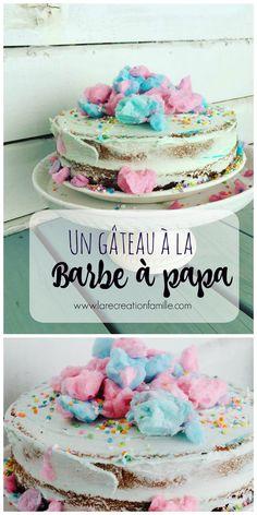 Gâteau à la barbe à papa, Cotton candy cake DIY  Idée rapide de gâteau de fête au look Pinterest mais sans se casser la tête !   #birthdaycake #cottoncandy #kidsparty  http://www.larecreationfamille.com/un-gateau-la-barbe-papa/