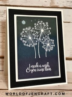 handmade greeting card featuring Dandelion Wishes ... from World of JenCraft ... black/navy with white ink and accents ... Stampin' Up!