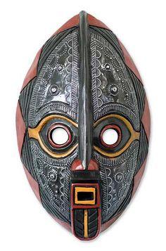 Malian wood mask, 'Spirit Talk' - Unique Malian Wood Mask