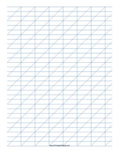 This Calligraphy Practice Paper features blue guidelines forming rectangles 1-inch wide and 1/3-inch tall with high angle vertical guidelines on letter-sized paper in portrait orientation. Free to download and print