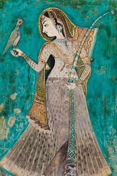 Beautiful turquoise and gold murals illustrating the Ragmala and Ras Lila stories lining the walls of the Chitrashala, built by Rao Umed Singh in the century, located inside the Garh Palace of Bundi INDIA Indian Traditional Paintings, Traditional Art, Fresco, India Painting, Mughal Paintings, Indian Folk Art, India Art, Arte Popular, Tempera