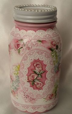 Hand Painted Mason Jar Pink Roses Hydrangeas Cottage Chic Shabby Lace HP