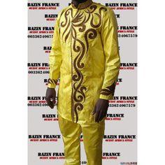Très beau ensemble homme en bazin riche jaune, couture moderne et originale.