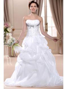 Empire Ball Gown Strapless Floor-length Pleats Court Wedding Dress & petite Wedding Dresses